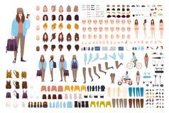 Ung sats för hipsterkvinnaskapelse Samling av plana kvinnliga kroppsdelar för tecknad filmtecken, ansikts- gester, ställingar vektor illustrationer