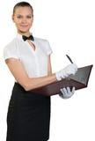 Ung servitris med leende i vita handskar Royaltyfria Bilder