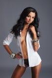 Ung sexig fitkvinna i trevlig damunderkläder Fotografering för Bildbyråer