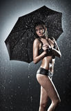 Ung sexig kvinna med paraplyet Fotografering för Bildbyråer