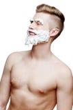 Ung shirtless man som isoleras på vit arkivbilder