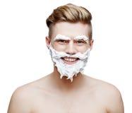 Ung shirtless man som isoleras på vit fotografering för bildbyråer