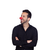Ung affärsman med clownnäsan Royaltyfri Bild