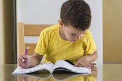 Ung skolpojke som hårt studerar Royaltyfria Foton