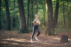 Ung spring för konditionsportkvinna på skogvägen i morgonen royaltyfri foto