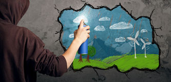 Ung stads- målareteckning Arkivbild