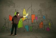Ung stads- målareteckning Arkivbilder