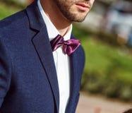 Ung stilig man med ett skägg i lyxig vit skjorta och blått omslag med bowtie Royaltyfri Bild