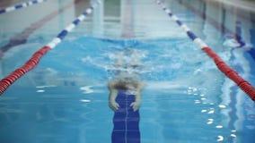 Ung stilig muskulös man som övar i idrottshallen Övning för hantelbicepkrullning i stående position bredvid viktkuggen lager videofilmer