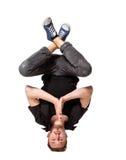 Ung stilig ny man som breakdancing på vit royaltyfri foto