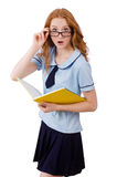 Ung student med anteckningsböcker som isoleras på vit Arkivfoto