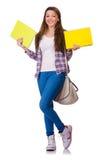 Ung student med isolerade böcker Royaltyfri Foto