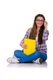 Ung student med isolerade böcker Arkivbilder