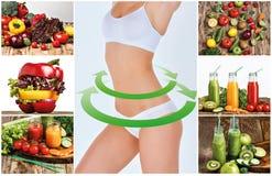 Ung sund kvinna med grönsaker collage Royaltyfria Foton