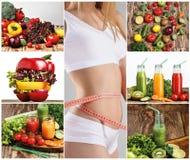 Ung sund kvinna med grönsaker collage Royaltyfria Bilder