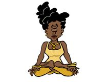 Ung svart kvinna som sitter i lotusblommaposition royaltyfri illustrationer