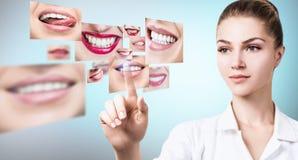 Ung tandläkaredoktor nära collage av sunda härliga leenden arkivbild