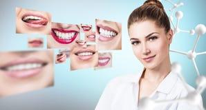 Ung tandläkaredoktor nära collage av sunda härliga leenden royaltyfri foto
