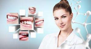 Ung tandläkaredoktor nära collage av sunda härliga leenden fotografering för bildbyråer