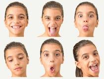 Ung tonårig flicka för mång- framsidor Arkivbild