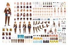 Ung uppsättning för hipsterflickaanimering, generator eller DIY-sats Packe av kroppsdelar, moderiktig tillfällig kläder, gester,  royaltyfri illustrationer
