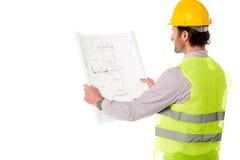 Ung väg-och vattenbyggnadsingenjör på arbete Arkivbilder