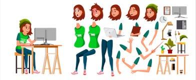 Ung vektor för tecken för affärskvinna Funktionsduglig tonårig kvinnlig flicka KontoristWorking At Office skrivbord Animeringupps Royaltyfri Bild