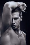 Ung vuxen man för Caucasian en, muskulös konditionmodell, head framsida Royaltyfri Fotografi