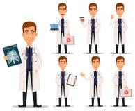 Ung yrkesmässig doktor i det vita laget, uppsättning vektor illustrationer