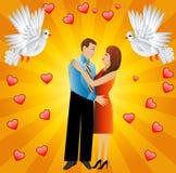Unga älska par och vitt smeka två royaltyfri illustrationer
