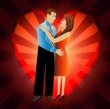 Unga älska par på en bakgrund en hjärta royaltyfri illustrationer
