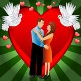 Unga älska par på en bakgrund en hjärta vektor illustrationer