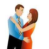 Unga älska par på en vit bakgrund stock illustrationer