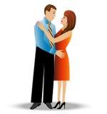 Unga älska par på en vit bakgrund royaltyfri illustrationer