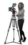 Unga afrikansk amerikankvinnor med den yrkesmässiga videokameran och Royaltyfria Foton