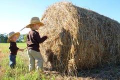 Unga barn som spelar på lantgård med Hay Bale Arkivfoto