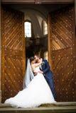 Unga brölloppar på deras bröllopdag Fotografering för Bildbyråer