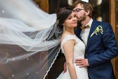 Unga brölloppar på deras bröllopdag Arkivfoton