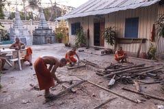 Unga buddistiska munkar i Phnom Penh Royaltyfri Bild