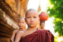 Unga buddistiska munkar som går morgonallmosa Arkivfoto