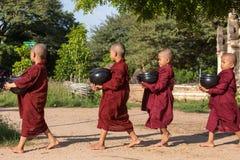 Unga buddistiska noviser går till mot efterkrav allmosa och offerings på gatorna av Bagan, Myanmar Arkivbilder