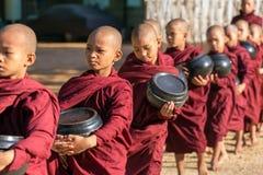 Unga buddistiska noviser går till mot efterkrav allmosa och offerings på gatorna av Bagan, Myanmar Arkivfoton