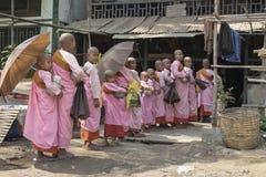 Unga buddistiska nunnor som köar upp för allmosa Royaltyfri Foto
