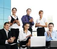 Unga businesspeople firar deras framgång Fotografering för Bildbyråer