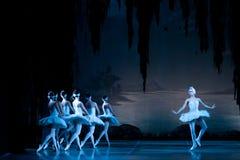 Unga dansareballerina i den klassiska dansen för grupp, balett arkivfoto