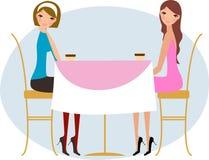 unga dricka kvinnor för kaffe stock illustrationer