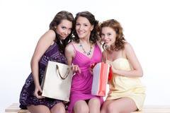 unga emotionella paper kvinnor för påse Royaltyfri Fotografi