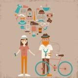Unga förälskade hipsterpar. Arkivbild