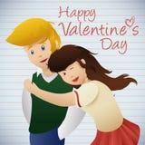 Unga förälskade par i skolan, vektorillustration Royaltyfri Fotografi