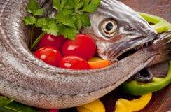 unga förberedda grönsaker för matlagning hake fotografering för bildbyråer